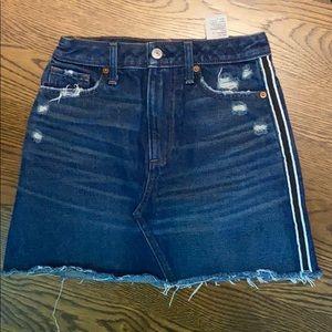 Dark wash denim skirt with stripe Abercrombie